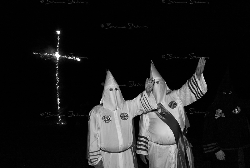 """near Prospect, TN, USA , May 9th 2009.""""Cross Burning"""" is one of the most well known rituals of the Ku Klux Klan, it has to take place on private ground, as it it is theoretically forbidden. Since President Obama was elected on Nov. 4th, 2008, the Ku Klux Klan has seen new memberships applications being multiplied by 6 compared to the previous year!"""