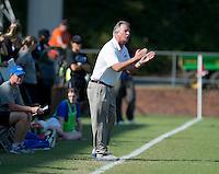 Duke head coach Robbie Church yells to his team during the game at Klockner Stadium in Charlottesville, VA.  Virginia defeated Duke, 1-0.