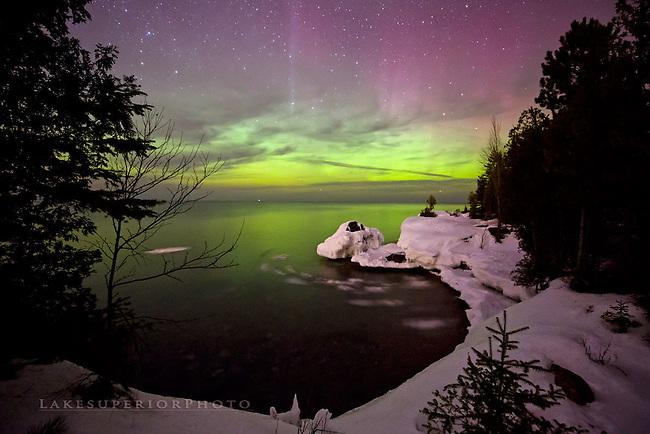 The frozen cove, aurora over Lake Superior, Marquette MI