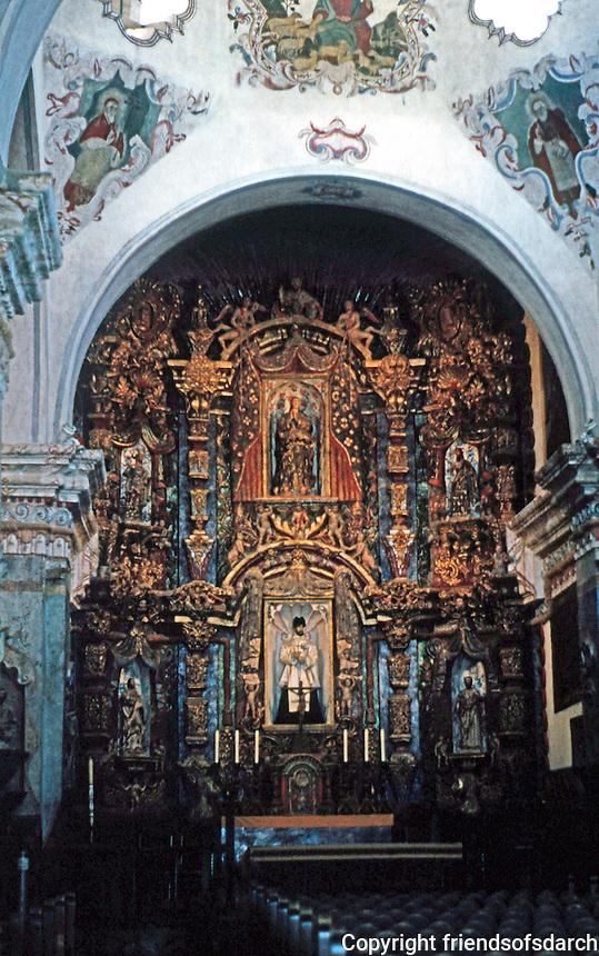 AZ: Tucson--San Xavier Del Bac, Interior. Retablo or Altar Screen. Retalblo: screen for paintings and sculptures. Photo '96.