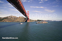 aerial photograph tug boat pulling loaded barge under Golden Gate bridge