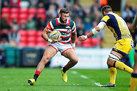 Adam Thompstone of Leicester Tigers in possession. Aviva Premiership match, between Leicester Tigers and Worcester Warriors on October 8, 2016 at Welford Road in Leicester, England. Photo by: Patrick Khachfe / JMP