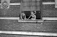 Bronx, New York City, NY - Summer of 1966 <br /> On Fox Street in the Bronx, street scene, kids in front of their building.