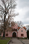 Pink castle in the town of Červené Řečice, a village in southern Bohemia with a chateau ruin run by the Catholic Church, Czech Republic, Europe