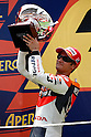 July 4, 2010 - Catalunya, Spain - Dani Pedrosa celebrates his second place on the podium at the Catalunya Grand Prix on July 4, 2010. (Photo Andrew Northcott/Nippon News).