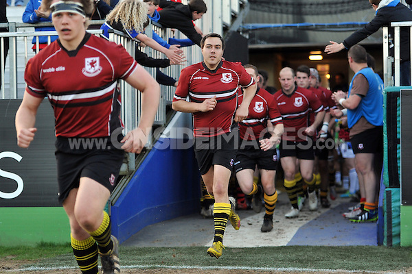 Aaron Cook (Wells RFC) and the rest of the Somerset County team run out onto the pitch. End-of-season friendly match, between Bath United and Somerset County Senior XV on April 14, 2014 at the Recreation Ground in Bath, England. Photo by: Patrick Khachfe / Onside Images