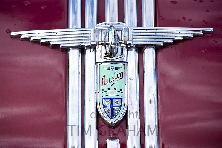 Badge Logo of Austin Atlantic A90 car at classic car rally at Brize Norton in Oxfordshire, UK