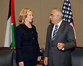 United States Secretary of State Hillary Rodham Clinton meets with Prime Minister Salam Fayyad of the Palestinian Authority at the David Citadel Hotel in Jerusalem, Israel, on Wednesday, September 15, 2010. .Credit: Department of State via CNP
