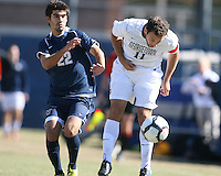 Jose Colchao #11 of Georgetwn University heads the ball down in front of Daniel Gonzalez #22 of Villanova University during a Big East match at North Kehoe Field, Georgetown University on October16 2010 in Washington D.C. Georgetown won 3-1.