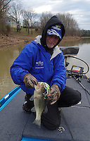 NWA Democrat-Gazette/FLIP PUTTHOFF <br /> Brashers used a spinner bait to catch this largemouth bass March 18, 2016 near the swim beach at Prairie Creek park.