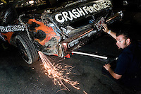 "Last minute touches. ""Powder Puff"" all women Demolition Derby at the Irwindale Toyota Speedway, Irwindale, California, Southern California, United States of America, North America. September, 2008, ©Stephen Blake Farrington"