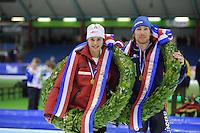 SCHAATSEN: HEERENVEEN: Thialf, KPN NK Allround, 05-02-2012, Nederlands allroundkampioenen, Marrit Leenstra, Ted-Jan Bloemen, ©foto: Martin de Jong