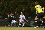 10 November 2012: Duke's Gilda Doria (21) is defended by Loyola Maryland's Brittany Yancey (4) and Didi Haracic (18). The Duke University Blue Devils played the Loyola University Maryland Greyhounds at Koskinen Stadium in Durham, North Carolina in a 2012 NCAA Division I Women's Soccer Tournament First Round game. Duke won the game 6-0.