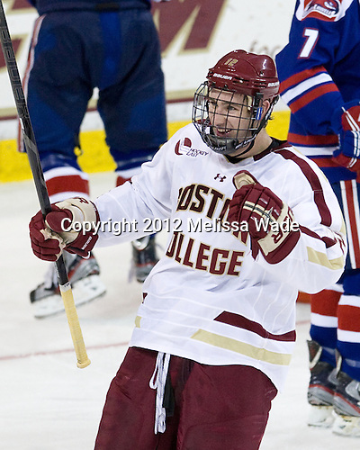 Kevin Hayes (BC - 12) - The Boston College Eagles defeated the visiting University of Massachusetts Lowell River Hawks 6-3 on Sunday, October 28, 2012, at Kelley Rink in Conte Forum in Chestnut Hill, Massachusetts.