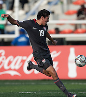 Victor Chavez kicks the ball. US Men's National Team Under 17 defeated Malawi 1-0 in the second game of the FIFA 2009 Under-17 World Cup at Sani Abacha Stadium in Kano, Nigeria on October 29, 2009.