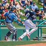 14 March 2016: Atlanta Braves first baseman Freddie Freeman gets caught in a rundown between 3rd and home during a Spring Training pre-season game against the Tampa Bay Rays at Champion Stadium in the ESPN Wide World of Sports Complex in Kissimmee, Florida. The Braves shut out the Rays 5-0 in Grapefruit League play. Mandatory Credit: Ed Wolfstein Photo *** RAW (NEF) Image File Available ***