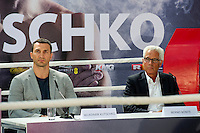 GERMANY: Wladimir Klitschko and Bernd Boente during the press conference to Anthony Joshua vs. Wladimir Klitschko at RTL media group mall on February 16, 2017 in Cologne, Germany.<br />