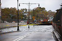 The Battery Park Underpass is seen completely submerged because of flooding from Hurricane Sandy, seen on Tuesday, October 30, 2012. Hurricane Sandy roared into New York disrupting the transit system and causing widespread power outages. Con Edison is estimating it will take four days to get electricity back to Lower Manhattan. (© Richard B. Levine)