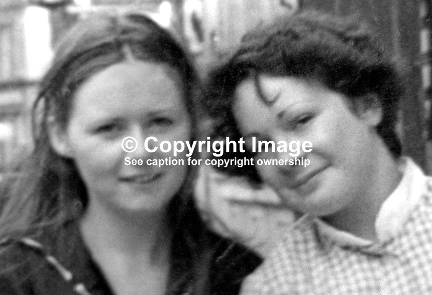 Philomena Green, 16 years, from Lurgan, N Ireland, right, who was killed in a booby-trap explosion in a vacant house in Mary Street. She was along with a friend, Joanne O'Hagan, who survived the blast. They entered the  vacant house, which was rented by Joanne's father, when they saw a light on.  Another friend, Nuala Burke, was also with them at the time and suffered horrific facial and sight injuries in the blast.The Provisional IRA admitted they planted the bomb and apologised to the family. They claimed the house was being used by British soldiers as an observation post. 197611270522a..Copyright Image from Victor Patterson, 54 Dorchester Park, Belfast, United Kingdom, UK...For my Terms and Conditions of Use go to http://www.victorpatterson.com/Victor_Patterson/Terms_%26_Conditions.html