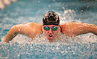 Shelby Stubenrauch of Viewmont High School swims in the second heat of the 100 yard butterfly event at the 5A State Swimming Championships at the BYU campus pool in Provo, Utah, Saturday, Feb. 13, 2010. August Miller, Deseret News .