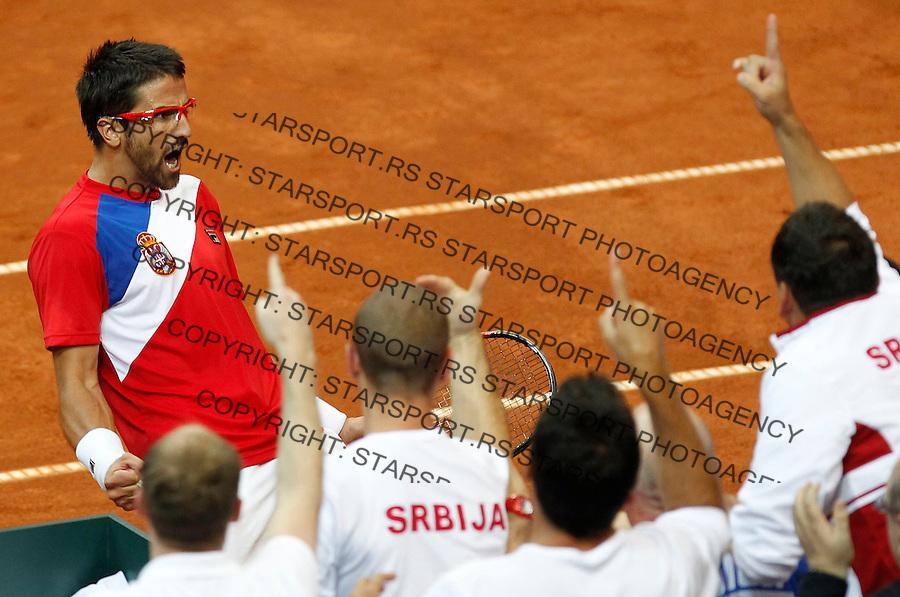 Davis Cup.Czech Republic Vs. Serbia.Janko Tipsarevic Vs. Radek Stepanek.Janko Tipsarevic celebrates.Prague, 06.04.2012..foto: Srdjan Stevanovic/Starsportphoto ©