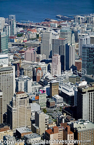 aerial photograph Union Square and financial district San Francisco