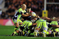 Peter Stringer of Sale Sharks looks to put the ball into a scrum. Aviva Premiership match, between Harlequins and Sale Sharks on November 6, 2015 at the Twickenham Stoop in London, England. Photo by: Patrick Khachfe / Onside Images