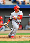7 March 2012: St. Louis Cardinal outfielder Erik Komatsu singles against the Washington Nationals at Space Coast Stadium in Viera, Florida. The teams battled to a 3-3 tie in Grapefruit League Spring Training action. Mandatory Credit: Ed Wolfstein Photo