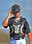 13 March 2012: Miami Marlins catcher Jake Jefferies warms up prior to a Spring Training game against the Atlanta Braves at Roger Dean Stadium in Jupiter, Florida. The two teams battled to a 2-2 tie playing 10 innings of Grapefruit League action. Mandatory Credit: Ed Wolfstein Photo