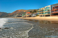Broad Beach Rd, Malibu, CA, Colorful, Luxury, Oceanfront, Beach, Houses, Raised, Stilts, Pilings, low tide, Los Angeles, CA High dynamic range imaging (HDRI or HDR)