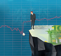 Businessman on cliff looking at broken piece of Euro bill in line graph
