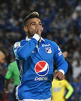 BOGOTA - COLOMBIA – 12 - 02 - 2017: Jacobo Koufatty jugador de Millonarios, celebra el gol anotado a Atletico Bucaramanga, durante partido de la fecha 3 entre Millonarios y Atletico Bucaramanga, de la Liga Aguila I-2017, jugado en el estadio Nemesio Camacho El Campin de la ciudad de Bogota.  / Jacobo Koufatty player of Millonarios celebrates the scored goal to Atletico Bucaramanga, during a match between Millonarios and Atletico Bucaramanga, for the date 3 of the Liga Aguila I-2017 played at the Nemesio Camacho El Campin Stadium in Bogota city, Photo: VizzorImage / Luis Ramirez / Staff.