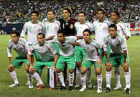 The Mexican starting eleven.  Mexico defeated Costa Rica 2-1 on penalty kicks in the semifinals of the Gold Cup at Soldier Field in Chicago, IL on July 23, 2009.