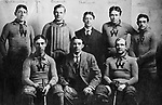 Waterbury Roller Polo team, early 1900s. Back row: Tommy Holdernessm halfback; Dave Cusick, goal; Dick Halliwell owner; Jack Fahey, center; Jigger Higgins, rush. Front row: Bob Loxson, rush; Pate McMahon, owner; Phil Jason, rush.