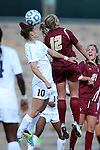 03 November 2013: North Carolina's Joanna Boyles (10) and Boston College's Jana Jeffrey (12). The University of North Carolina Tar Heels hosted the Boston College Eagles at Fetzer Field in Chapel Hill, NC in a 2013 NCAA Division I Women's Soccer match and the quarterfinals of the Atlantic Coast Conference tournament. North Carolina won the game 1-0.