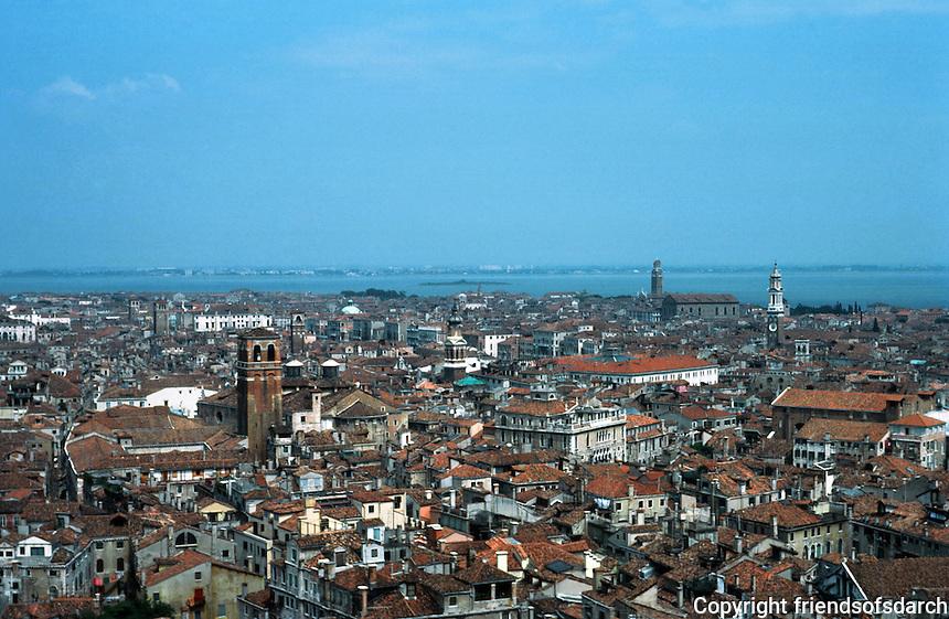 Venice:  View  from the Campanile--looking NE toward lagoon ,  Murano, etc.  Photo '83.