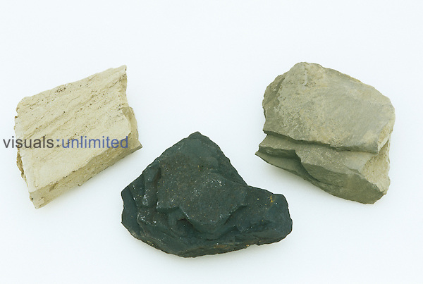 """""""Rock Cycle: Clay (right), Shale (left), Slate (middle)."""".."""