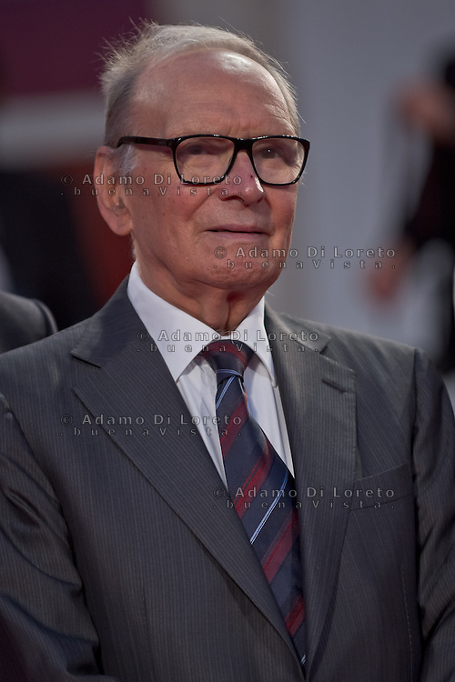 Italian composer Ennio Morricone poses on the red carpet as he arrives with an Italian delegation during the 70th Venice Film Festival on September 1st, 2013. (Photo by Adamo Di Loreto/BuenaVista*photo)