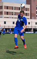 Christian Battistesa (24) of Seton Hall heads the ball at Shaw Field in Washington, DC.  Georgetown defeated Seton Hall, 8-0.