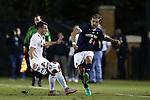 11 November 2015: Notre Dame's Max Lachowecki (6) and Wake Forest's Jack Harrison (ENG) (left). The Wake Forest University Demon Deacons hosted the University of Notre Dame Fighting Irish at Spry Stadium in Winston-Salem, North Carolina an Atlantic Coast Conference Tournament Semifinal game and a 2015 NCAA Division I Men's Soccer match. Notre Dame won the game 1-0 and advanced to the ACC Championship final.