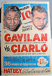 WATERBURY, CT- 02 JAN 06- 010207JT01- <br /> A poster of Waterbury boxer Tommy Ciarlo, right, before a fight with Kid Galivan in Havana, Cuba in 1951. Galivan would later become the world welterweight champion.<br /> Josalee Thrift Republican-American