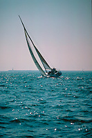 Long Beach, Ca, USA, Sailing  Sailboat Heeling, Pacific Ocean, USA