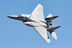 Major Jason 'Bondo' Costello, flying as part of the F-15 East Coast Demonstration Team, demonstrates the performance capabilites of the United States Air Force's F-15 Eagle during the 2006 Reno National Championship Air Races in Reno, Nevada. In December of 2006 the F-15 East Coast Demonstration Team began its transition to the F-22 Raptor. Photographed 09/06
