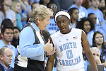 16 November 2014: UNC head coach Sylvia Hatchell (left) talks with Jamie Cherry (0). The University of North Carolina Tar Heels hosted the University of California Los Angeles Bruins at Carmichael Arena in Chapel Hill, North Carolina in a 2014-15 NCAA Division I Women's Basketball game. UNC won the game 84-68.