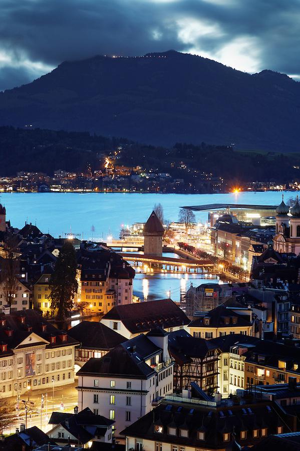 Lucerne city skyline at dawn, Lucerne, Switzerland, Europe