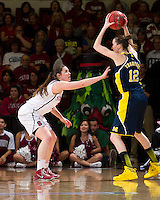 STANFORD, CA - March 26, 2013: Stanford Cardinal plays Michigan in a second round game of the 2013 NCAA Division I Championship at Maples Pavilion in Stanford, California.  The Cardinal defeated the Wolverines 73-40.