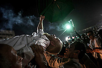 In this Thursday, Aug. 08, 2013 photo, supporters of the ousted president Mohammed Morsi celebrate the last day of Ramadan at the sit-in at Al-Raba'a Alawya in the Nasr district of Cairo. (Photo/Narciso Contreras).