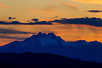 Sunset over the Olympic mountains area in Washington's Olympic National Park. The Olympic Mountains is a year-round destination. In summer, visitors come for views of the Olympic Mountains, as well as for superb hiking.  Jim Bryant Photo. ©2016. All Rights Reserved.