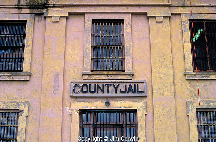 Astoria County jail prison facility bars on windows downtown Astoria Oregon State USA