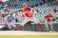 Rhode Island vs Arkansas Razorbacks Men's Baseball – Josh Alberius of Arkansas pitching against Rhode Islalnd at  Baum Stadium, Fayetteville, AR, Sunday, March 12, 2017.  © 2017 David Beach